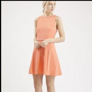 Top shop Coral Cut Out Sleeveless Skater Dress